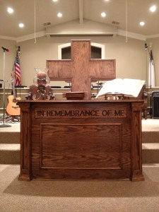 communion table and cross for Eros Louisiana