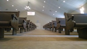 Cantilevered church pews