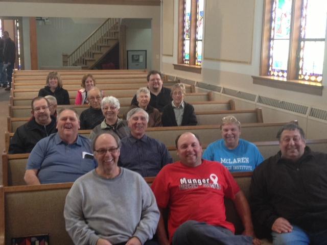 church members in new pews