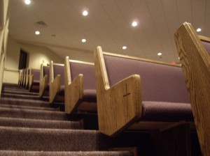 church pews at St. Luke's