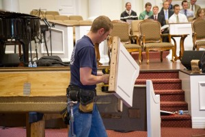 Installing new church pews